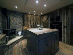 creative-wooden-gun-room-with-fireplace