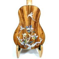 Alulu Solid Acacia Koa concert Hummingbird MOP Inlay Ukulele, hard case, HU