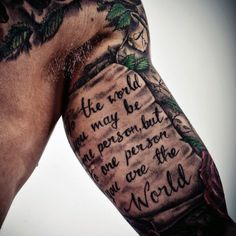 Guy With Cool Quote Inner Arm Tattoo