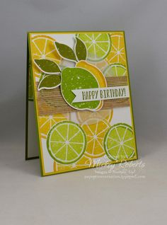 Lemon Zest -- Happy Birthday by mickeyinpsj - Cards and Paper Crafts at Splitcoaststampers Birthday Verses, Birthday Gift Cards, Simple Birthday Cards, Happy Birthday, Penny Black, Magenta, Cute Fruit, Burlap Ribbon, Pretty Cards