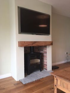 Dean Forge Dartmoor 5 Wide Hearth - grey natural stone from Wharfe Valley Hearths Gas Stove Fireplace, Fireplace Tv Wall, Simple Fireplace, Fireplace Remodel, Fireplace Design, Log Burner Living Room, Living Room Decor Fireplace, Open Plan Kitchen Living Room, Living Room Flooring