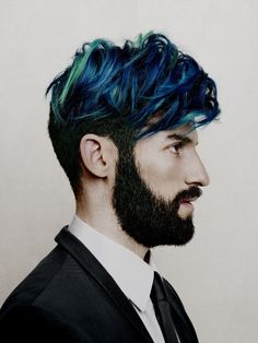 Oticon advertising, Photographer: Billy & Hells, Styling: Heidi, Hair & Makeup: Jazz Mang, green hair, blue hair, beard, white shirt, black jacket, www.basics-berlin.de