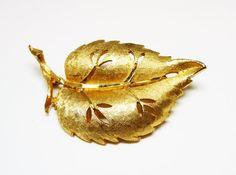 BSK Goldtone Leaf Brooch  Brilliant Golden by thejewelseeker