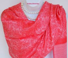 Red Pashmina Scarf.Red & Pink by HappyIdeology on Etsy