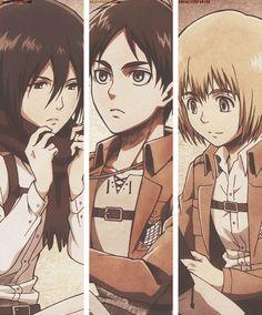 Mikasa, Eren, Armin