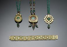 An Indian emerald, ruby, diamond-set and enamelled gold Necklace Pendant