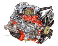 David Kimble cutaway illustration of  1967 302 V8 (Z28) for the Camaro