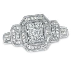 1/2 CT. T.W. Composite Diamond Square Framed Engagement Ring in 10K White Gold