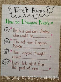 Great anchor chart examples to support reading discussion~Creating Readers and Writers