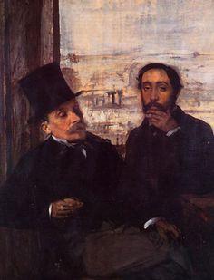 Edgar Degas:  Self portrait with  Evariste de Valernes, 1865