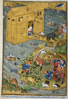 """Exit from Noah's Ark; detail of a miniature from BL Add MS 18850, f. 16v (the """"Bedford Hours""""). Held and digitised by the British Library."""