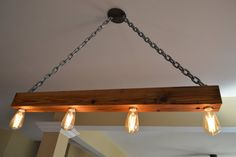 Old Crow Whiskey reclaimed wood light - reclaimed beam - chandelier - kitchen light - custom lighting - welded iron - Edison bulb -