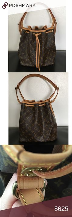 Authentic Louis Vuitton Petit Noé Authentic Louis Vuitton Monogram Petit Noé. Very good preowned condition. Please refer to photos for condition. Brown canvas interior lining. Drawstring closure. Date code reads AR0095. Original dust bag not included but will provide a dust bag. Newer version in stores now retail $1270. **Please look at two other listings for additional photos**