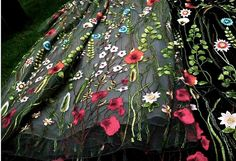 heavy embroidered lace fabric with colorful florals black