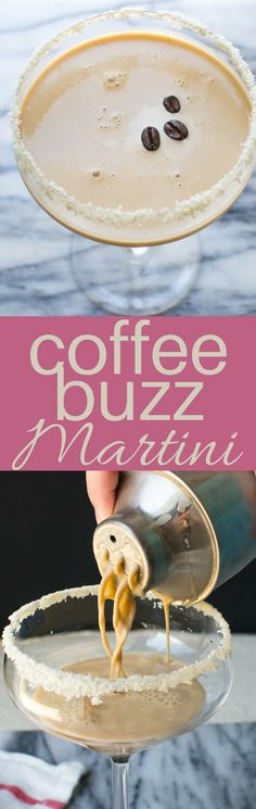 This easy Coffee Buzz Martini recipe is a cross between cocktails & dessert! Kahlua, Irish cream, vodka, coffee simple syrup & half and half, shaken with ice will sneak up on you! Cocktail Desserts, Best Cocktail Recipes, Coffee Cocktails, Holiday Drinks, Fun Cocktails, Party Drinks, Fun Drinks, Yummy Drinks, Simple Syrup Recipe Drinks