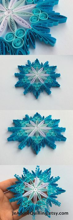 Snowflake Blue White Frosty Christmas Tree Decoration Winter Ornaments Gifts Toppers Fillers Office Corporate Paper Quilling Quilled Art