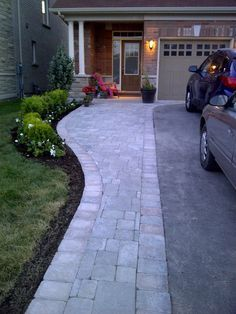 Widening the driveway and walkway with paver stones instead of ...