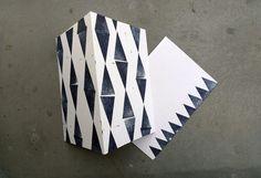 Zig Zag Triangle // Set of 2 stamped Postcards // von karamelo