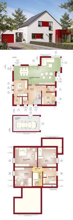 Modernes Einfamilienhaus mit Garage & Satteldach Architektur - Haus bauen Grundriss Fertighaus Evolution 154 V6 Bien Zenker Hausbau Ideen - HausbauDirekt.de