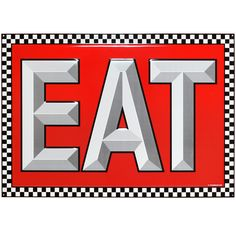 Eat Large Checkerboard Pattern Tin Sign