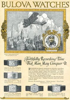 "1925 Bulova Watch advertisement for the Saturday Evening Post, Two years later, Bulova would create a special model, the ""Lone Eagle,"" to commemorate the transatlantic flight of Charles Lindbergh."