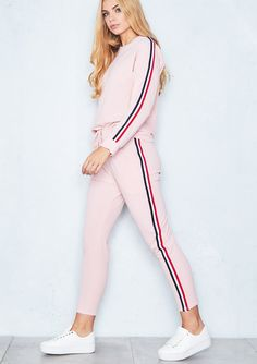 Army Green Tracksuit Overalls Winter 2018 Fashion Striped Casual Jumpsuit Women 2 Pieces Set Tops and Pants Female Skinny Romper Winter 2018 Fashion, Long Sleeve Outfits, Clothes 2018, Loungewear Set, Pants For Women, Clothes For Women, Long Hoodie, Look Cool, Teen Fashion