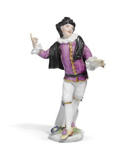 "A Meissen figure of ""Scaramouche"" from the Weissenfels series,modelled by Peter Reinicke, circa 1744."