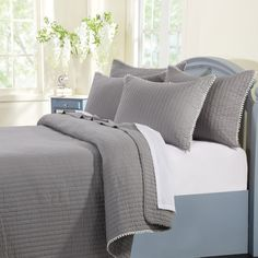 Features:  -Twin set includes 1 quilt and 1 pillow sham.  -Fabric bound edges.  -Oversized for better coverage on today's deeper mattresses.  Product Type: -Quilt/Coverlet set.  Style (Old): -Contempo