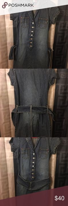 NWOT Denim Tommy Hilfiger dress with thick belt NWOT Denim Tommy Hilfiger dress with thick belt Tommy Hilfiger Dresses