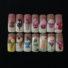 You don't need to choose the same nail art patterns over and over again. Food Nail Art, Gel Nail Art, Hot Nails, Hair And Nails, Nail Art Cupcake, Ice Cream Nails, Shellac Nails, Cute Nail Art, Nail Art Stickers