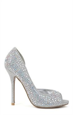 Deb Shops Peep Toe Single Sole Platform Pumps with Stones and Open Side $34.42