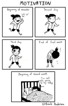© Sarah Andersen Yep basically me every school year. Sarah See Andersen, Sarah Andersen Comics, Cute Comics, Funny Comics, Funny Quotes, Funny Memes, Hilarious, Tumblr Funny, Saras Scribbles