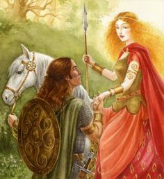 Some Irish warriors, the Fianna, were hunting near Lough Leane when a beautiful woman came out of the water, riding  a white horse. The chief of the Fianna was Fionn mac Cumhaill, and with him was his son, Oisin. The woman was Niamh Chinn Oir, a fairy. She fell in love with Oisin and invited him to follow her in the lake, to the Tir na N'og, which is the land of eternal youth.