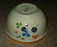 Got this at the thrift- has anyone seen this Hall patten before? It is so cool with the multi colored shamrocks bursting out. Hall Pottery, Mixing Bowls, Dinnerware, Tea Pots, June, China, Cool Stuff, Vintage, Ceramics