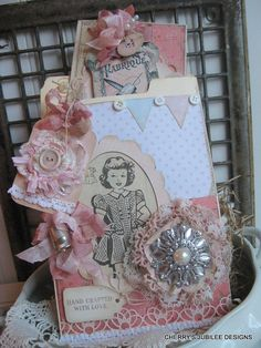 shabby chic VINTAGE SEWING pattern pocket with card and matching tag decoration gift set stationary via Etsy