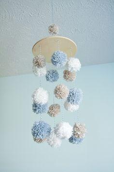 "Mobile baby blue pom pom : bakery twine"" by littleseeta"