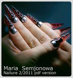 Not my style. Goth Nail Art, Punk Nails, Vampire Nails, Talon Nails, Edge Nails, Pointed Nails, Stiletto Nail Art, Younique Presenter, Nail Trends
