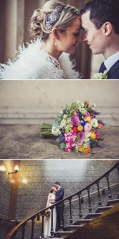 A modern wedding in Liverpool with a bride in Jenny Packham Crystal and Acacia I headpiece and bright flowers colour scheme 0124 Love And Br...