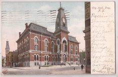 1908 Troy New York Postcard City Hall Building w Street Scene Divided Back | eBay