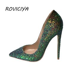 4a00bd137eb38b Green Glitter bling bling wedding shoes 12 cm high heel pumps sexy stiletto heels  party shoes