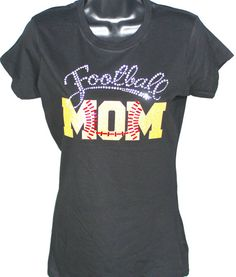 ON SALE - Football Mom Bling Rhinestone and Glitter T-shirt - 1st Down Series (Size Fitted LG) by TheTeeShirtMakers, $15.99