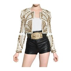 d26a296274af Balmain Embroidered Nappa Bolero Leather Jacket found on Polyvore Beaded  Jacket