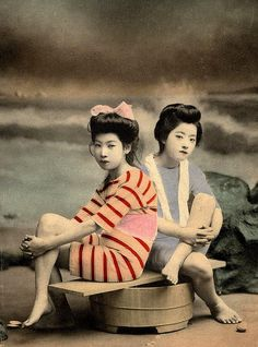 RUB-A-DUB DUB, TWO GIRLS ON A TUB -- Young Geisha posing as Bathing Beauties by Okinawa Soba, via Flickr