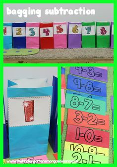 Bagging Subtraction! Sorting subtraction equations into the correct bag! Kindergarten subtraction lesson! Kindergarten subtraction activity!