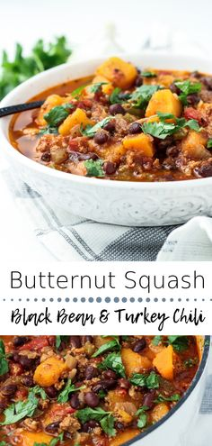 Healthy, hearty and delicious Butternut Squash Black Bean Turkey Chili; a simple to make recipe that is packed with flavorful ingredients! {Gluten and dairy-free} de sopa Healthy Soup Recipes, Chili Recipes, Crockpot Recipes, Healthy Chili, Alkaline Recipes, Sin Gluten, Dairy Free Soup, Lactose Free, Butternut Squash Chili