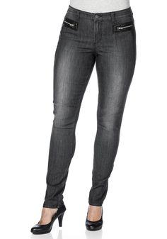 Typ , Jeans, |Material , Baumwolle, Polyester, Elasthan, |Materialzusammensetzung , 79% Baumwolle, 19% Polyester, 2% Elasthan, |Beinform , Schmal, |Länge , Lang, |Optik , Mit Lederimitat-Applikation vorn und auf den Gesäßtaschen, |Vordertaschen , 2, |Gesäßtaschen , 2, |Innenbeinlänge , Innenbeinlänge ca.: N-Gr. 80,5 cm, K-Gr. 75,5 cm, L-Gr. 87,5 cm, | ...
