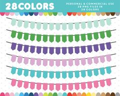 Pennant graphics in 28 colors, Bunting Banner, Take That, Clip Art, Stock Photos, Digital, Paper, Flag, Graphics, Colors