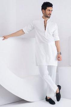 Picture of White cotton kurta Mens Indian Wear, Indian Men Fashion, Men's Fashion, Fashion Suits, African Fashion, Fashion Brand, Gents Kurta Design, Boys Kurta Design, Designer Kurtis