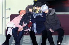 Sakata Gintoki, Hijikata Toushirou, Okita Sougo and Kagura   Gintama (9)