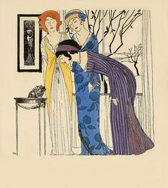 Les robes de Paul Poiret, 1908.    Art-Nouveau -styled fashion plate by French fashion designer Paul Poiret. The hand-stenciled pochoir print by the artist Paul Iribe